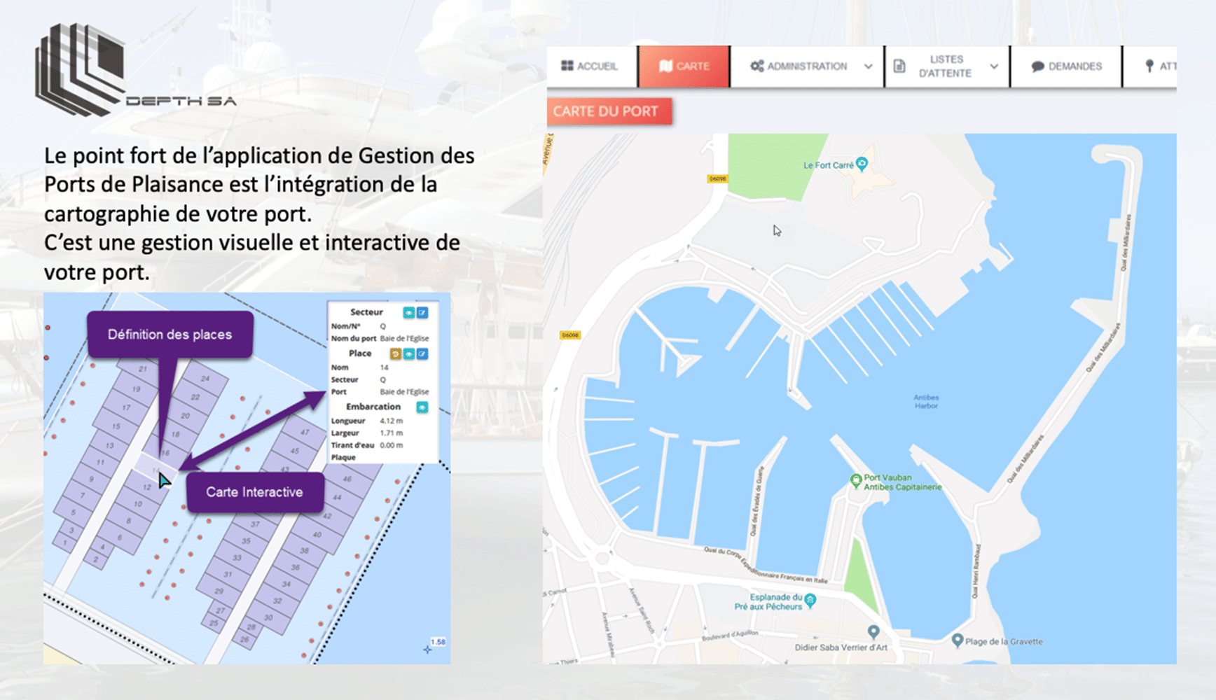 Avantage cartographie - Applications gestion des ports - DEPTH SA